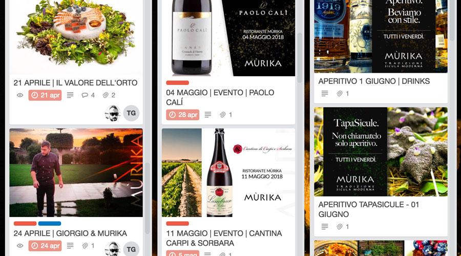 Mùrika Restaurant - Un esempio di piano editoriale con Trello